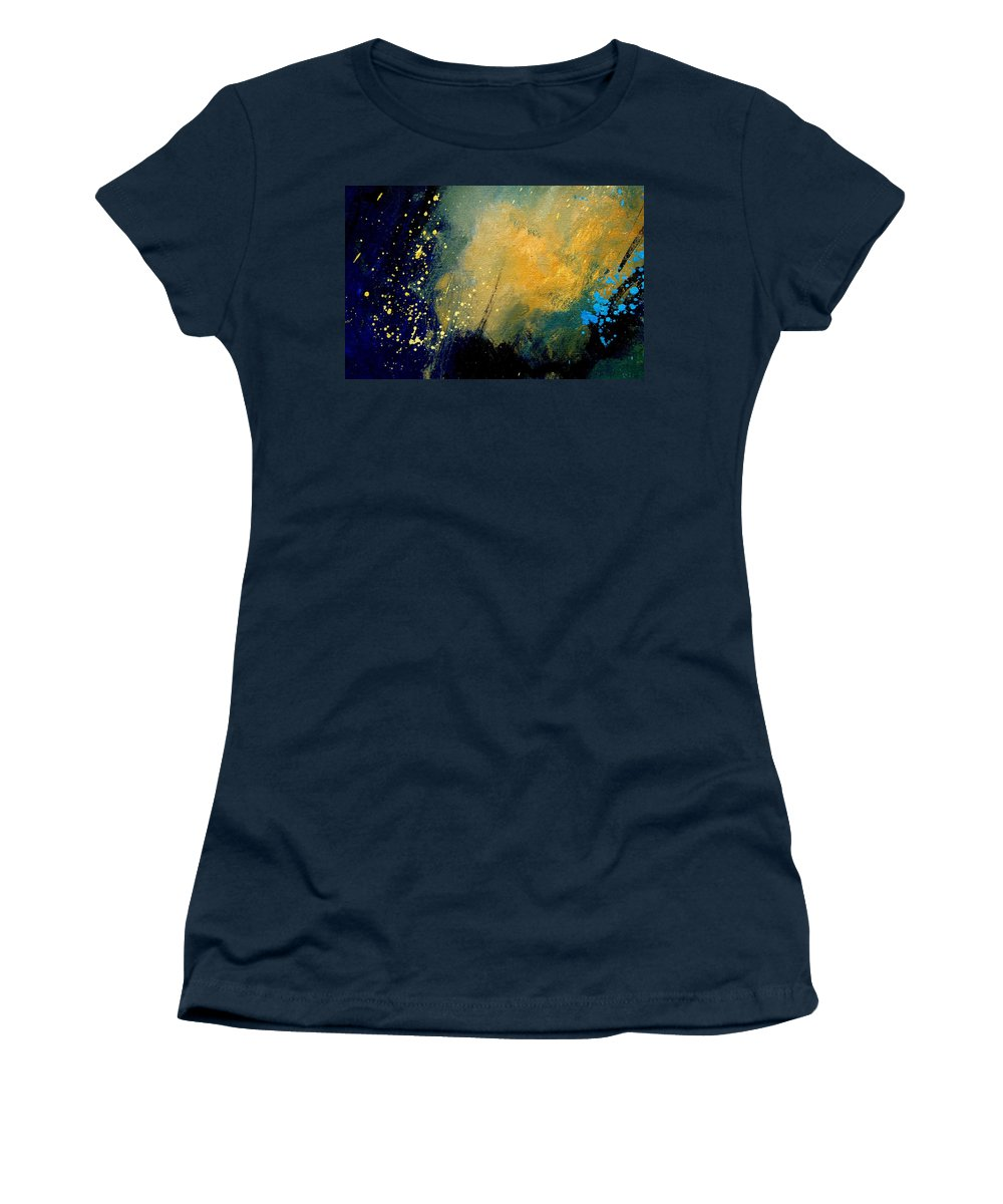 Abstract Women's T-Shirt (Athletic Fit) featuring the painting Abstract 061 by Pol Ledent