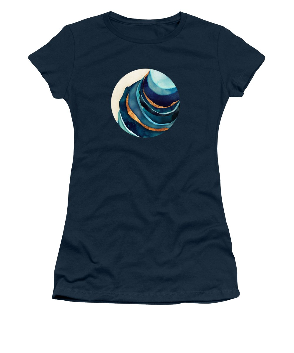 Blue Women's T-Shirt featuring the digital art Abstract Blue With Gold by Spacefrog Designs