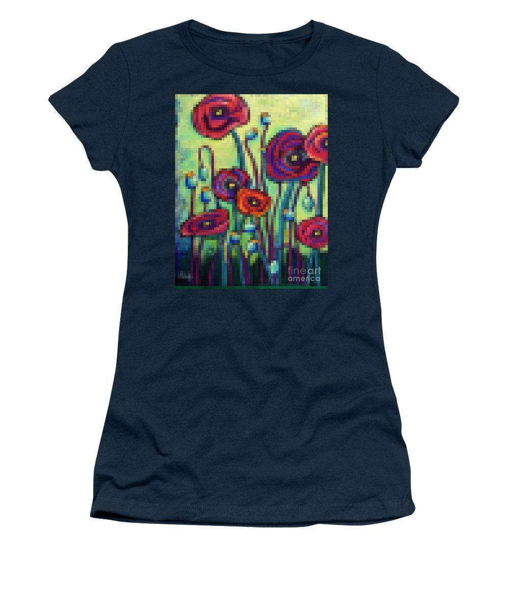 Pixels Women's T-Shirt featuring the digital art Abstracted Poppies by David Hinds