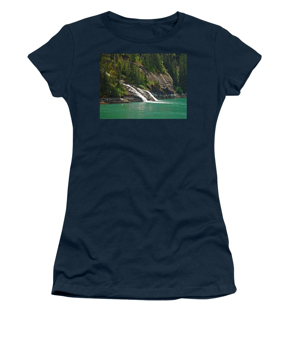 Waterfall Women's T-Shirt (Athletic Fit) featuring the photograph Alaska Tracy Arm by Heather Coen