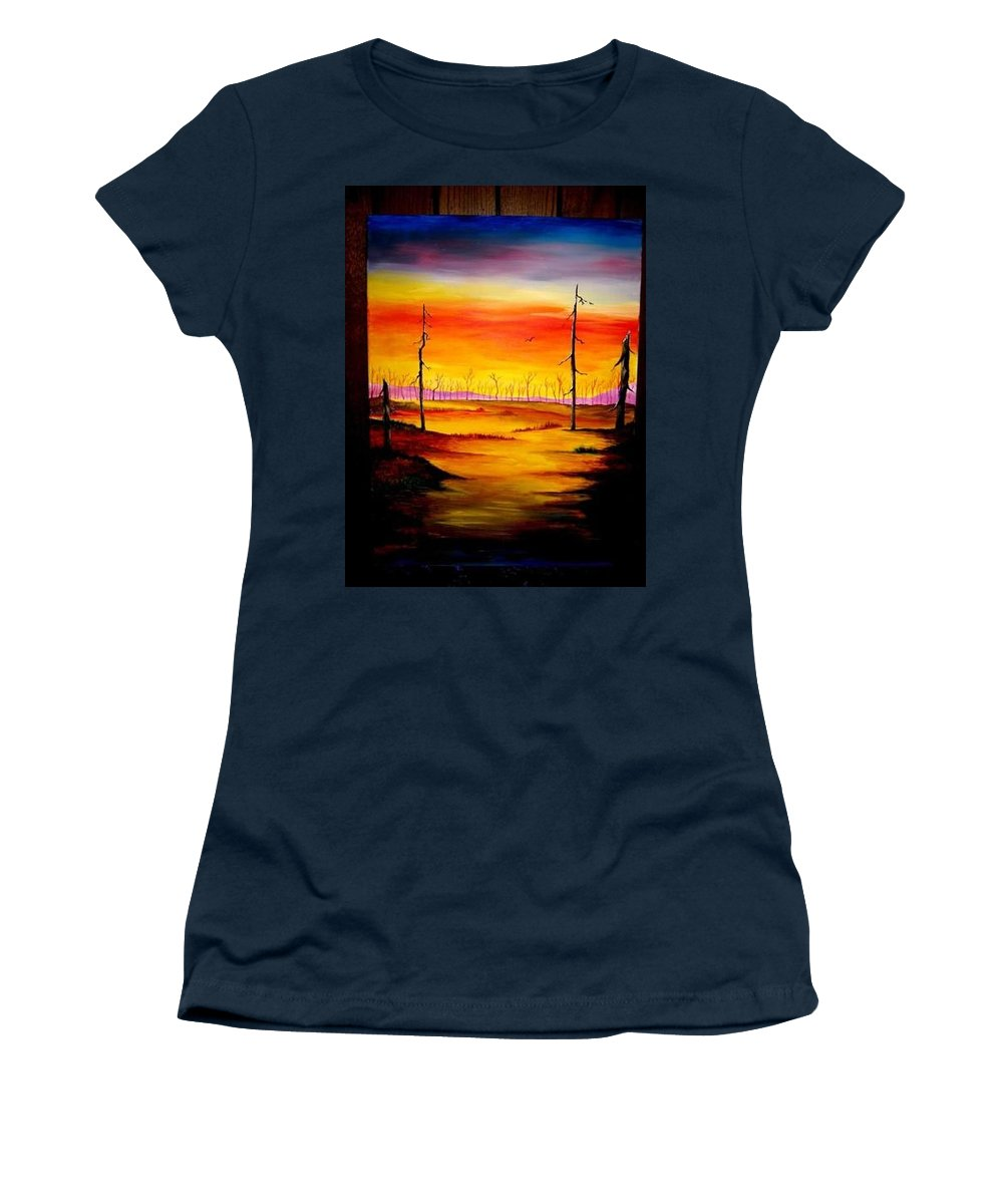 Landscape Women's T-Shirt (Athletic Fit) featuring the painting Alone by Glory Fraulein Wolfe