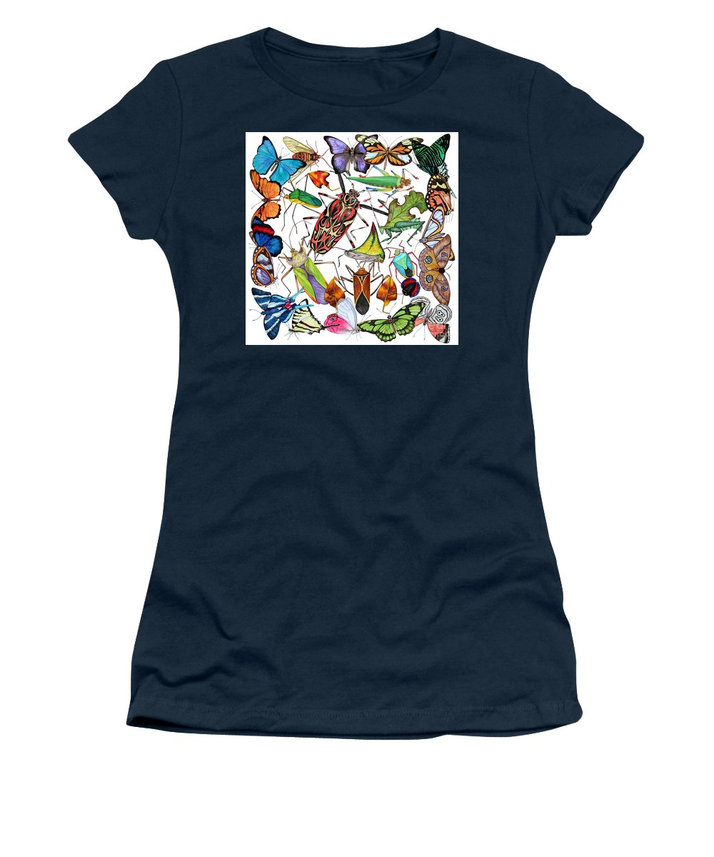 Insects Women's T-Shirt (Athletic Fit) featuring the painting Amazon Insects by Lucy Arnold