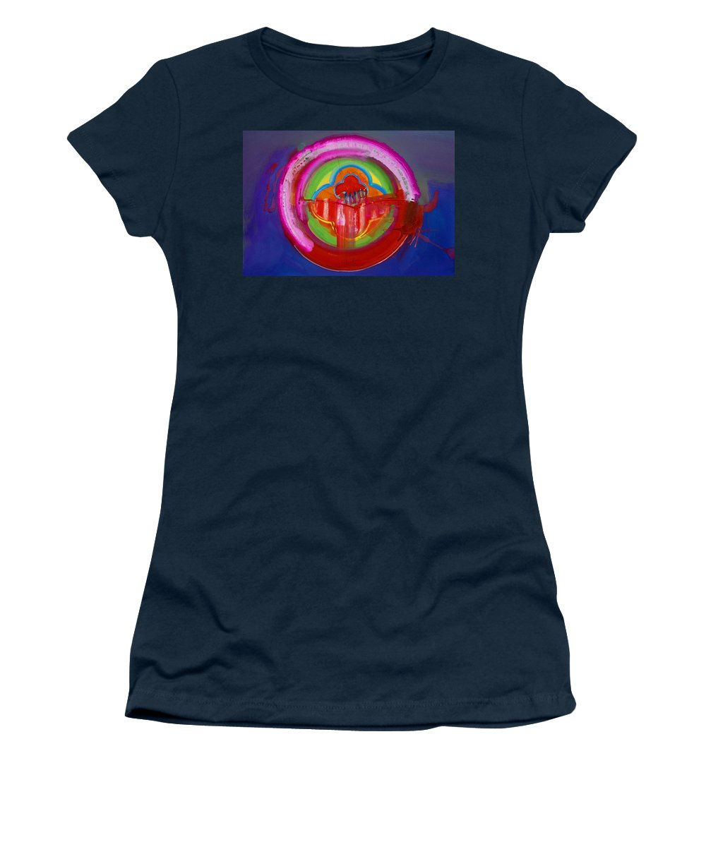 Button Women's T-Shirt (Athletic Fit) featuring the painting American Evangelical by Charles Stuart
