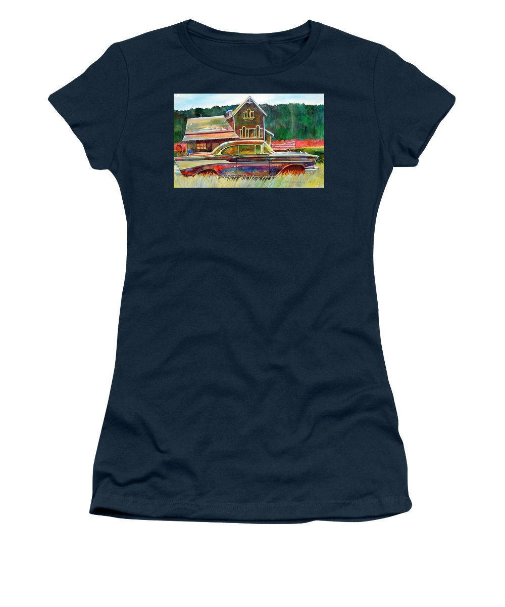 57 Chev Women's T-Shirt featuring the painting American Heritage by Ron Morrison