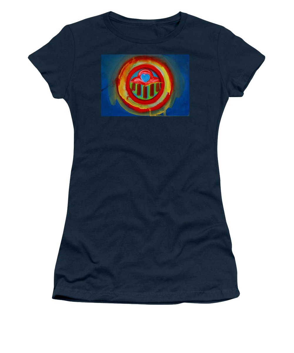 Button Women's T-Shirt (Athletic Fit) featuring the painting American Love Button by Charles Stuart