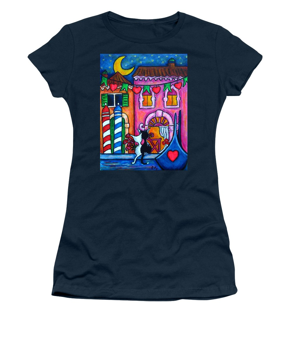Cats Women's T-Shirt (Athletic Fit) featuring the painting Amore In Venice by Lisa Lorenz