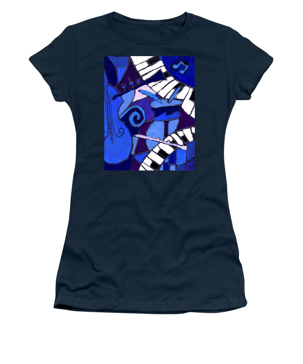 Blues Women's T-Shirt featuring the painting and All that Jazz 3 by Wayne Potrafka