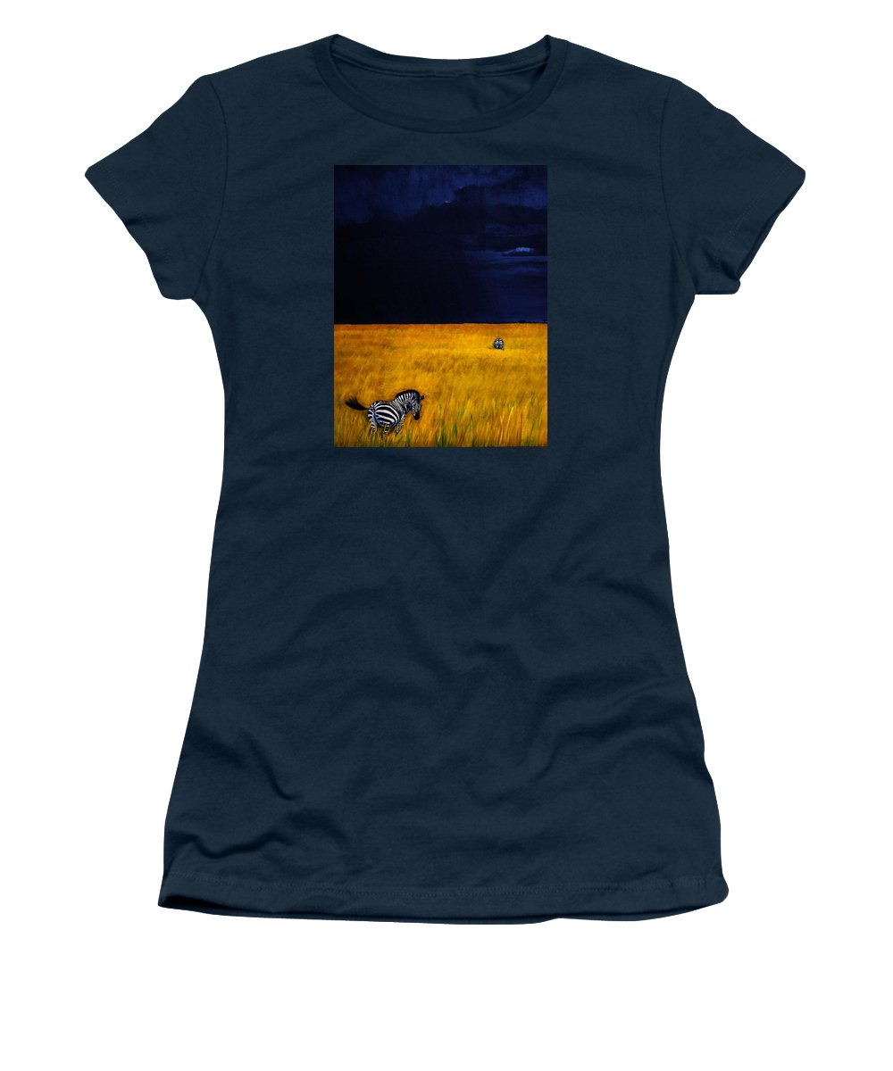 African Landscape Zebra Storm Clouds Edith Peterson Watson Scenery Nature Animals Wildlife Women's T-Shirt (Athletic Fit) featuring the painting Approaching Storm by Edith Peterson-Watson