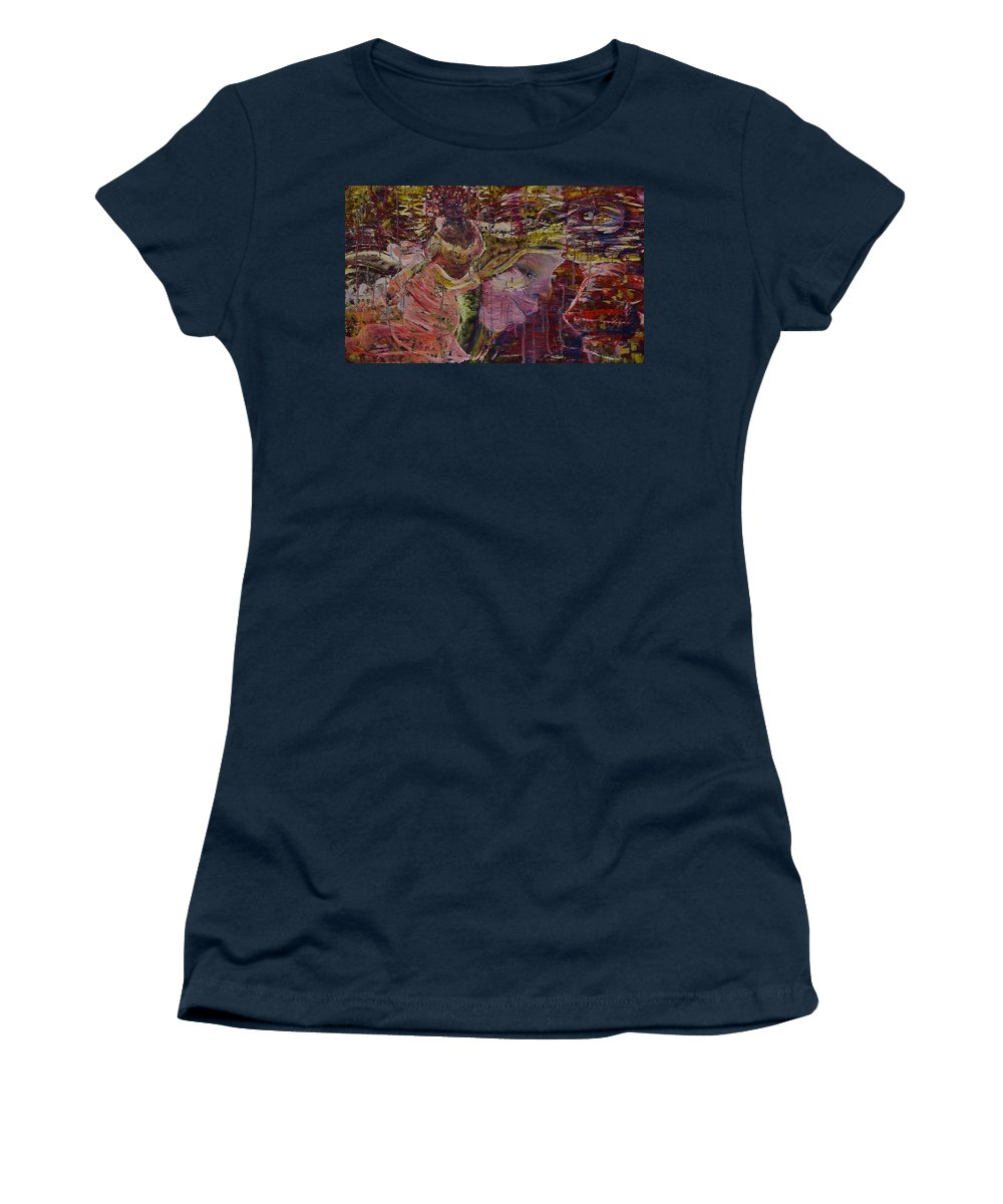 Portrait Women's T-Shirt featuring the painting April 29th. by Peggy Blood