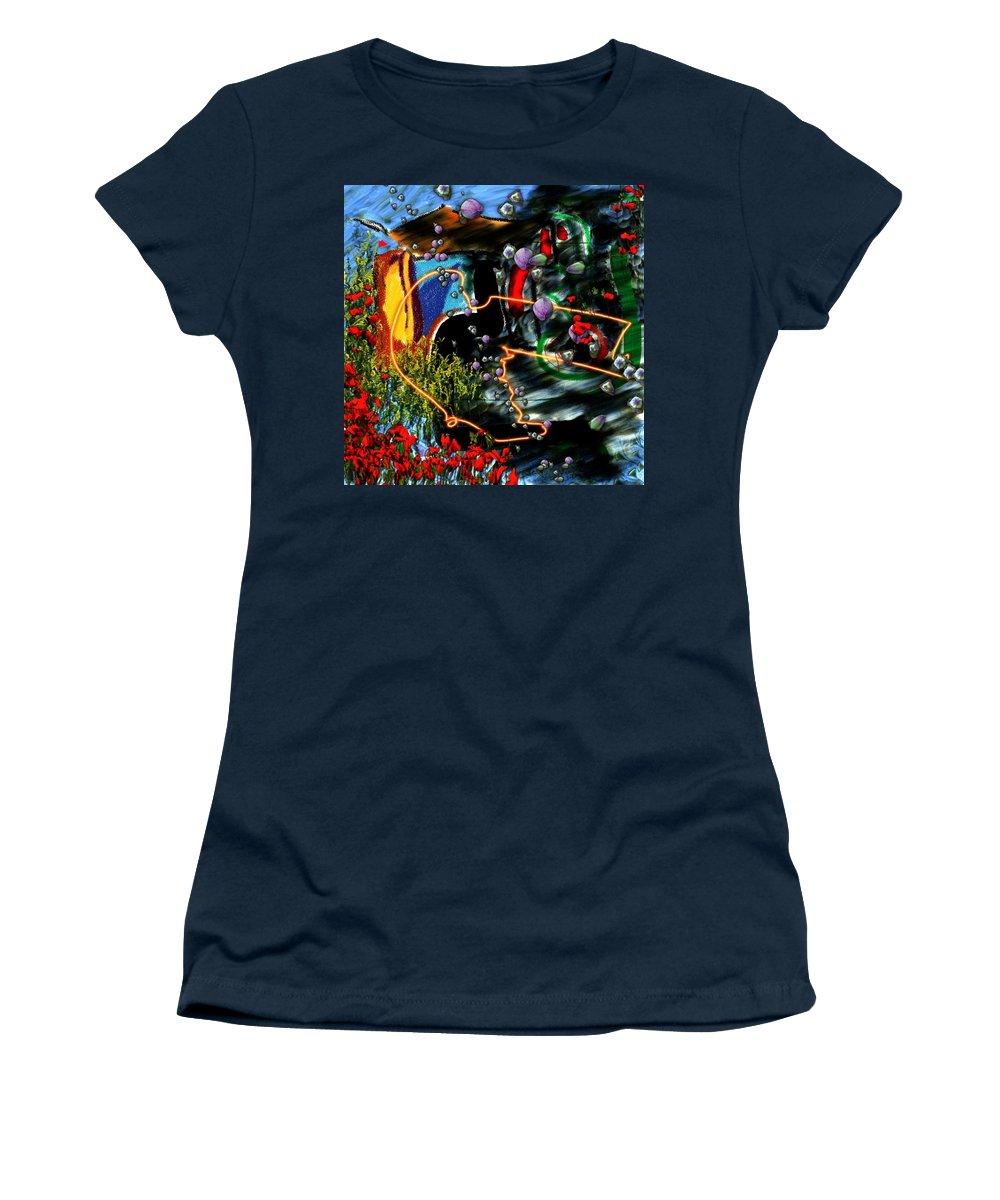Ocean Water Deep Sea Nature Salad Women's T-Shirt (Athletic Fit) featuring the digital art Aquatic Salad by Veronica Jackson