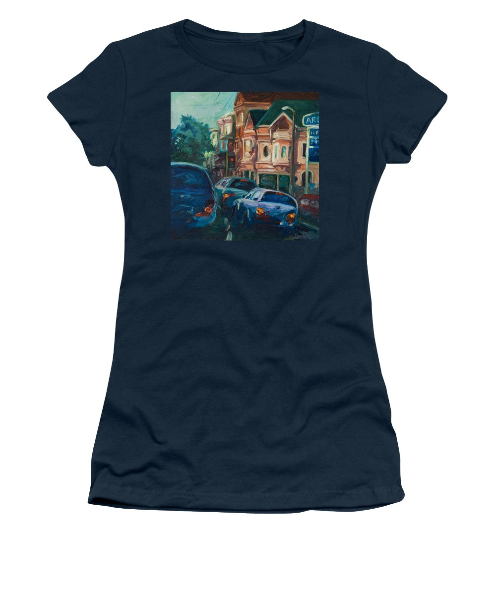 Trees Women's T-Shirt (Athletic Fit) featuring the painting Arco by Rick Nederlof