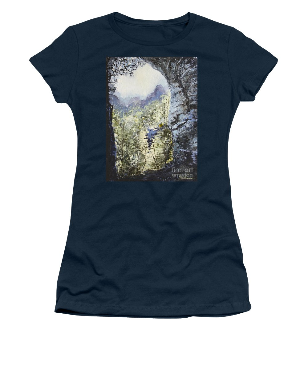 Landscape Women's T-Shirt (Athletic Fit) featuring the painting Around The Bend by Todd A Blanchard