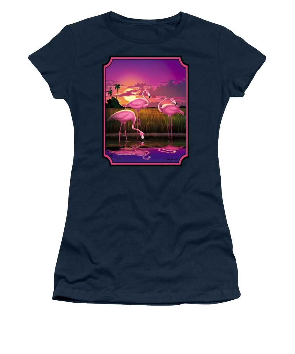 Flamingoes Women's T-Shirt featuring the photograph Flamingoes Flamingos Tropical Sunset landscape florida everglades large hot pink purple print by Walt Curlee