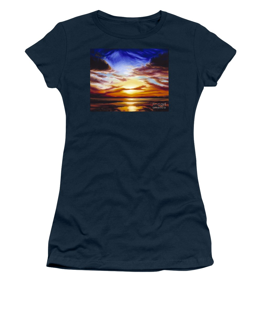 Skyscape Women's T-Shirt (Athletic Fit) featuring the painting As The Sun Sets by James Christopher Hill