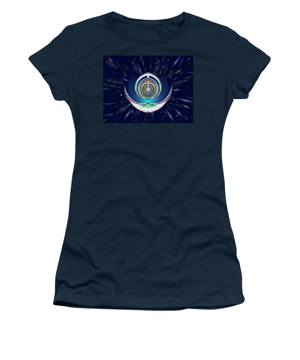 Abstract Women's T-Shirt (Athletic Fit) featuring the digital art Astral Speedway by Tim Allen