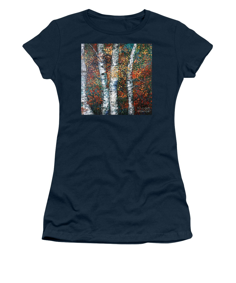 Birch Women's T-Shirt (Athletic Fit) featuring the painting Autumn Birch by Nadine Rippelmeyer