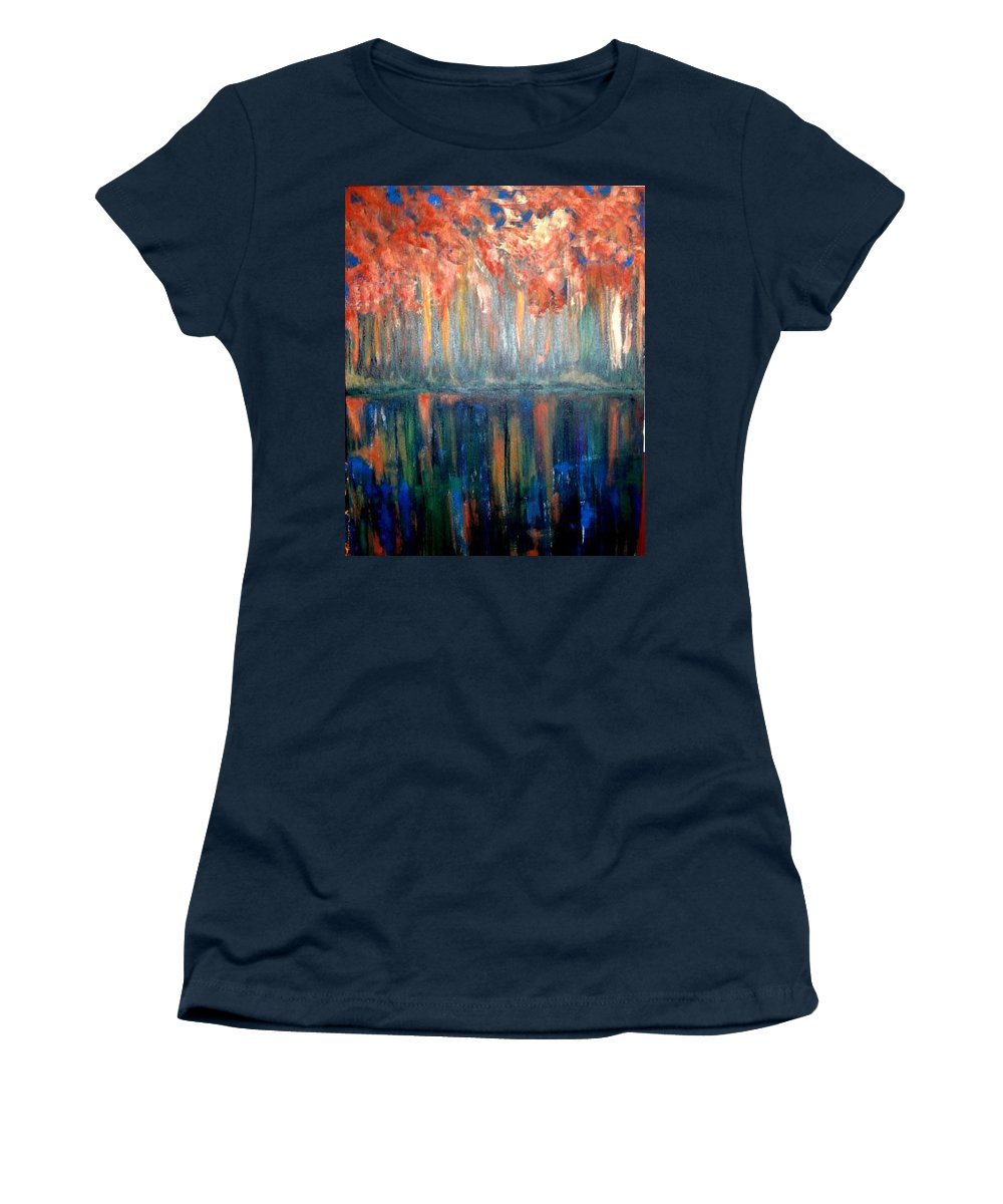 Original Art Women's T-Shirt featuring the painting Autumn Reflections by Rae Chichilnitsky