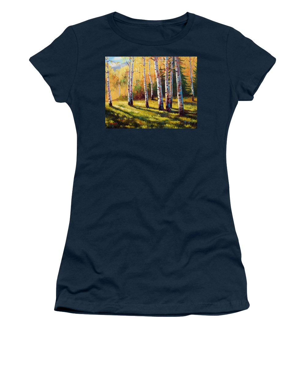 Landscape Women's T-Shirt featuring the painting Autumn Shade by David G Paul