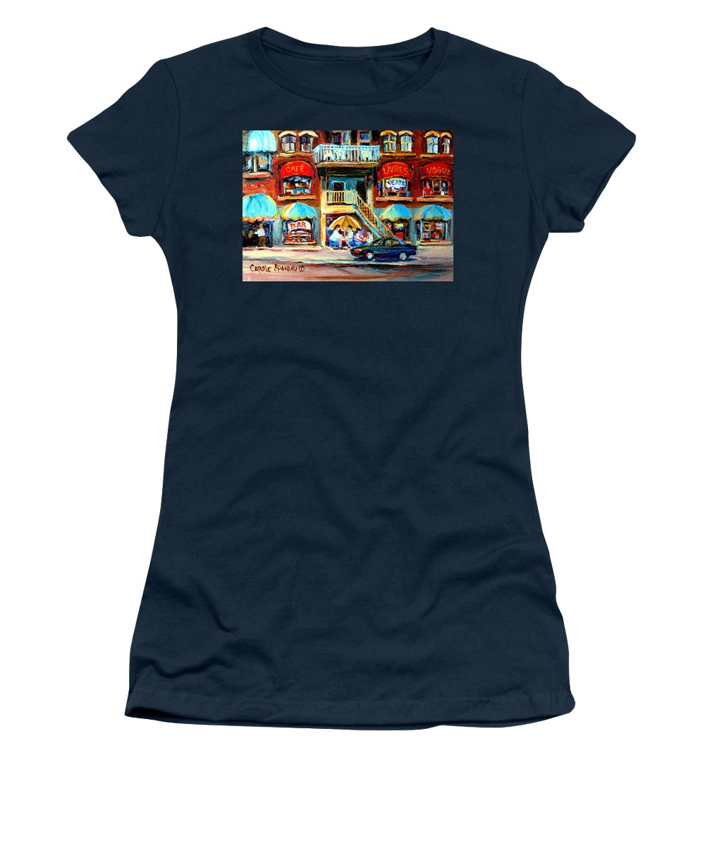 Cafes Women's T-Shirt (Athletic Fit) featuring the painting Avenue Du Parc Cafes by Carole Spandau