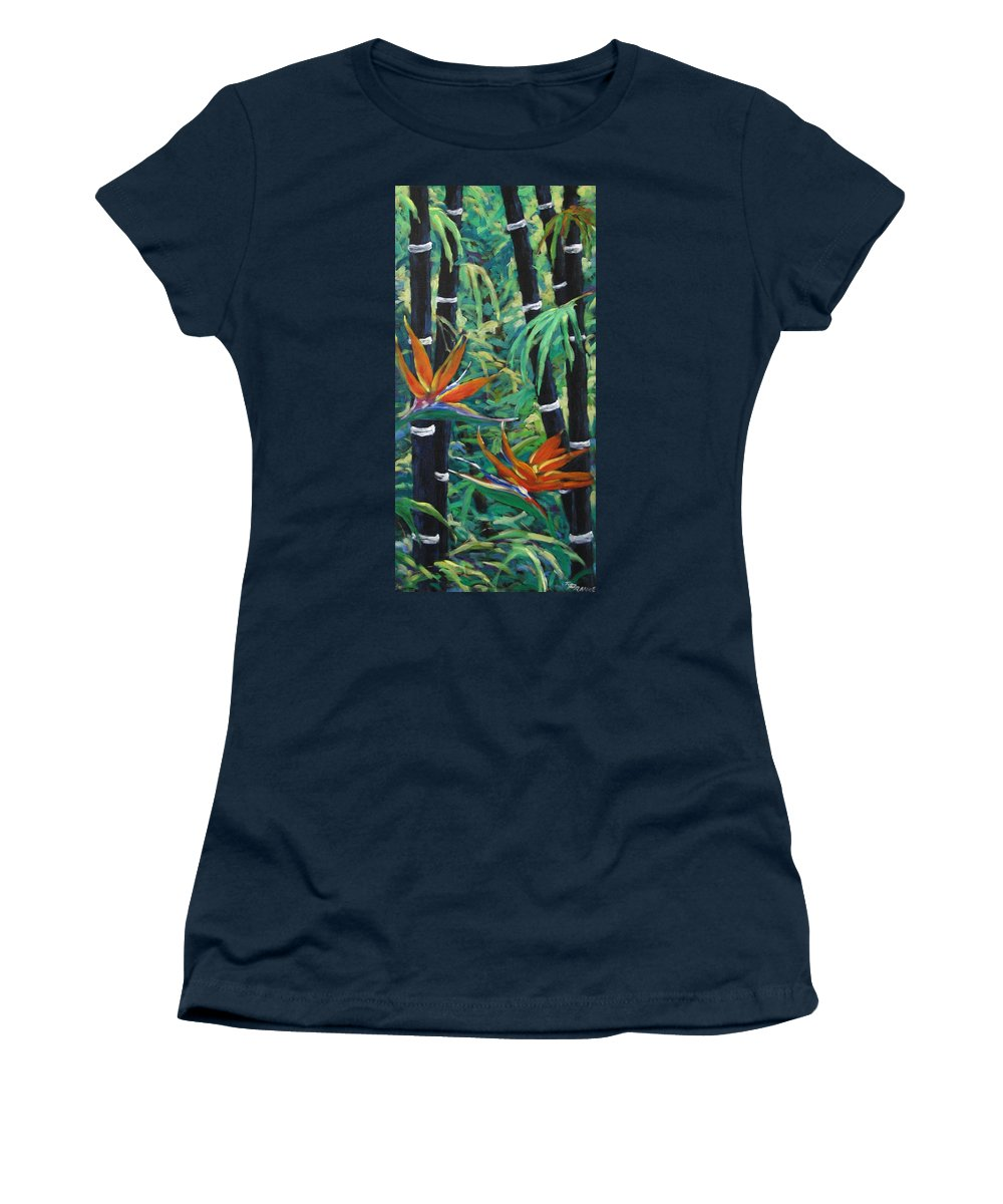 Bamboo Women's T-Shirt (Athletic Fit) featuring the painting Bamboo And Birds Of Paradise by Richard T Pranke