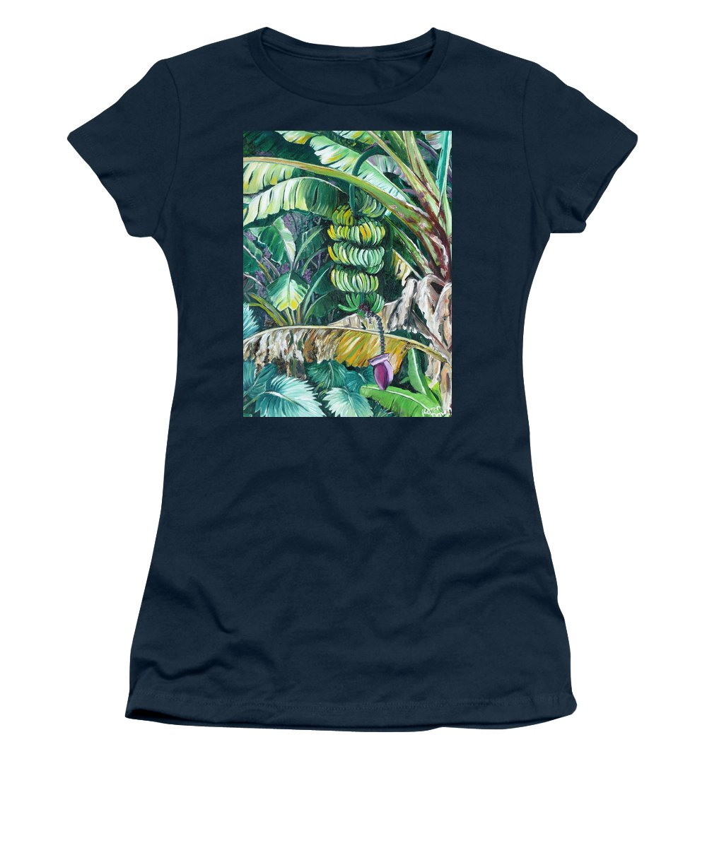 Caribbean Painting Bananas Trees P Painting Fruit Painting Tropical Painting Women's T-Shirt (Athletic Fit) featuring the painting Bananas by Karin Dawn Kelshall- Best