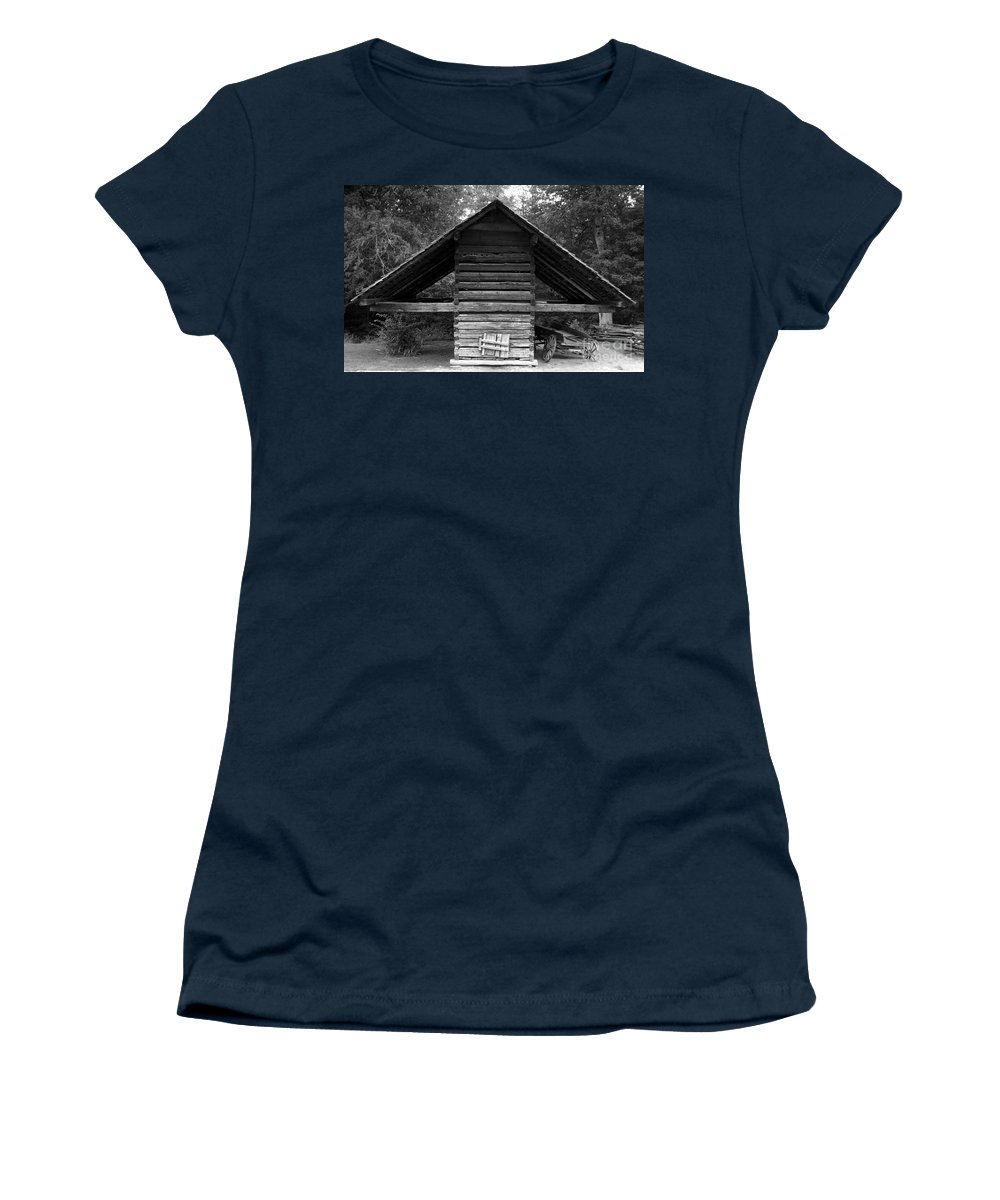 Barn Women's T-Shirt (Athletic Fit) featuring the photograph Barn And Wagon by David Lee Thompson