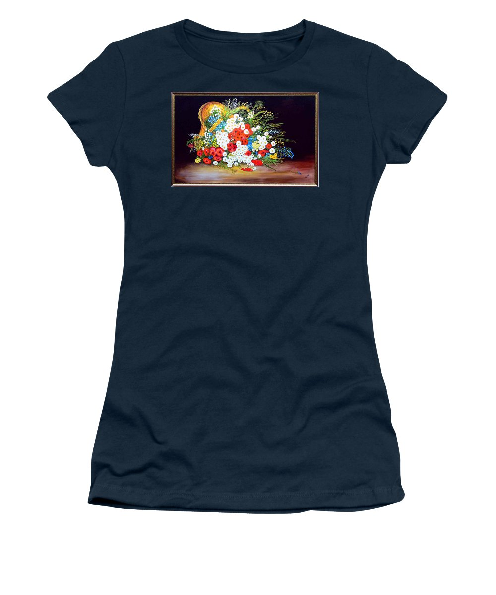 Summer Women's T-Shirt featuring the painting Basket With Summer Flowers by Helmut Rottler