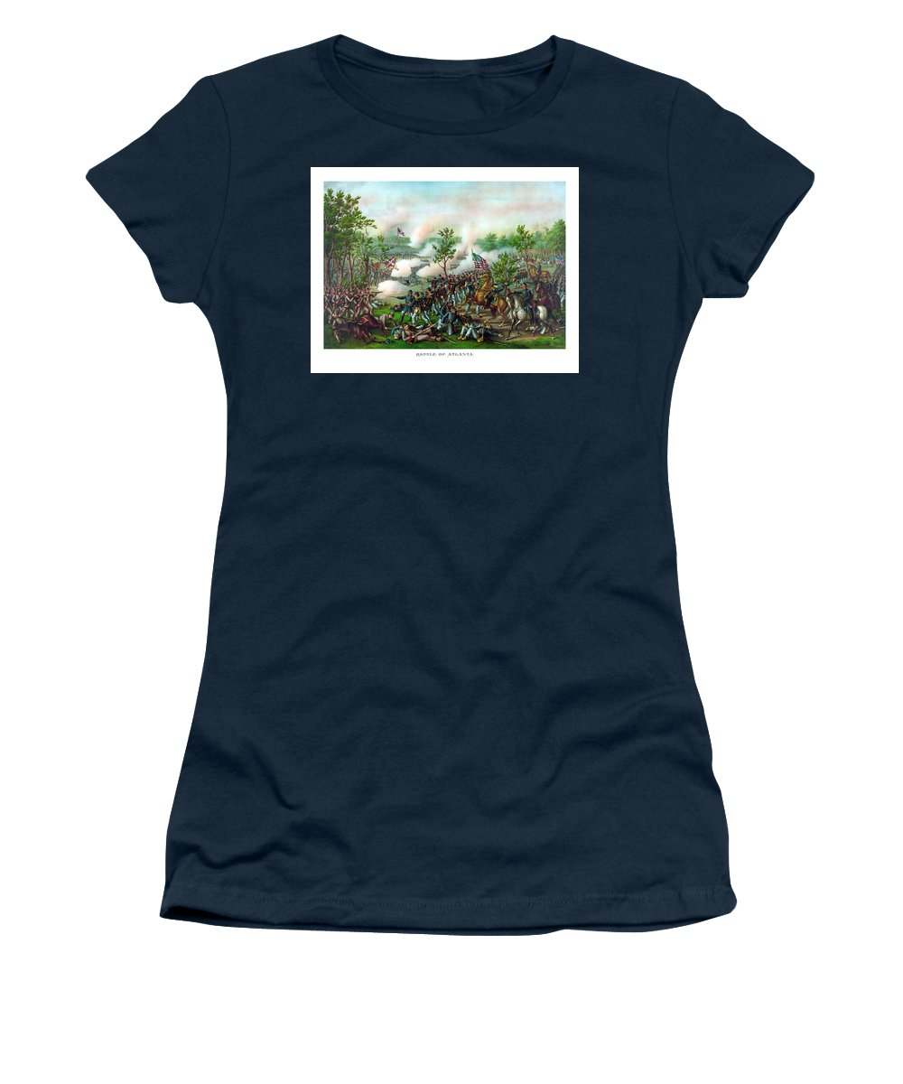 Battle Of Atlanta Women's T-Shirt featuring the painting Battle Of Atlanta by War Is Hell Store