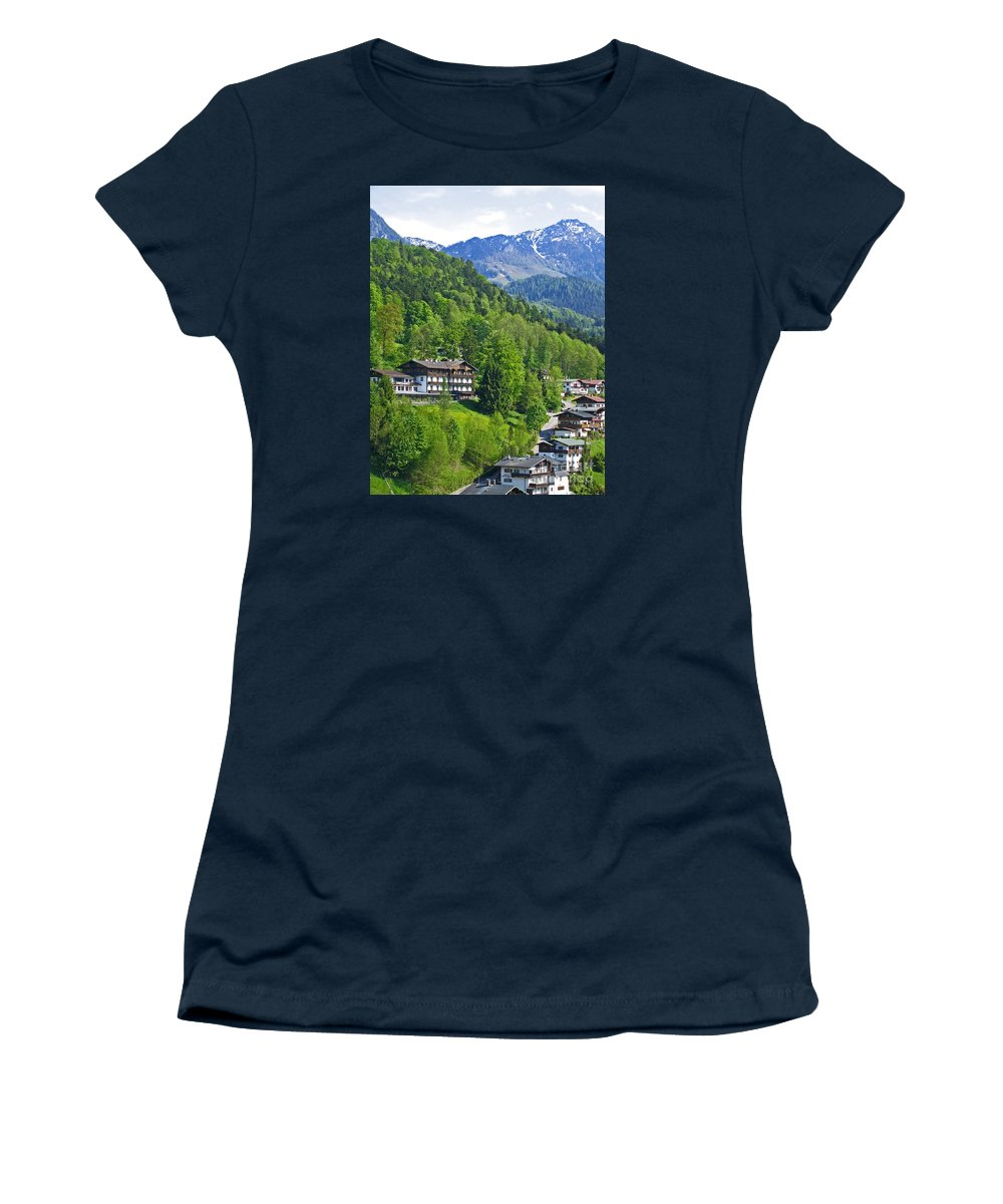 Germany Women's T-Shirt (Athletic Fit) featuring the photograph Bavarian Mountainside by Ann Horn