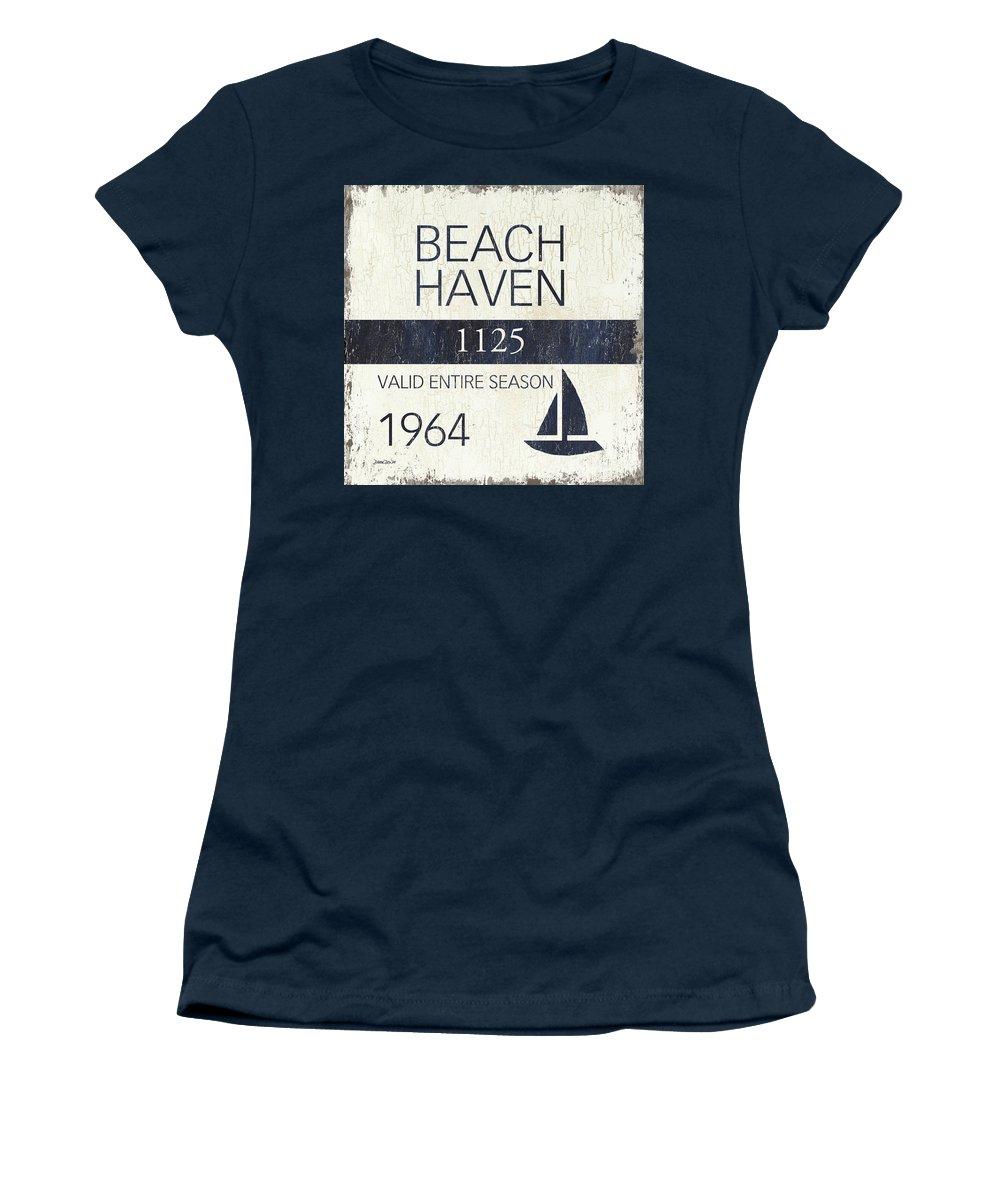 Beach Women's T-Shirt featuring the painting Beach Badge Beach Haven by Debbie DeWitt