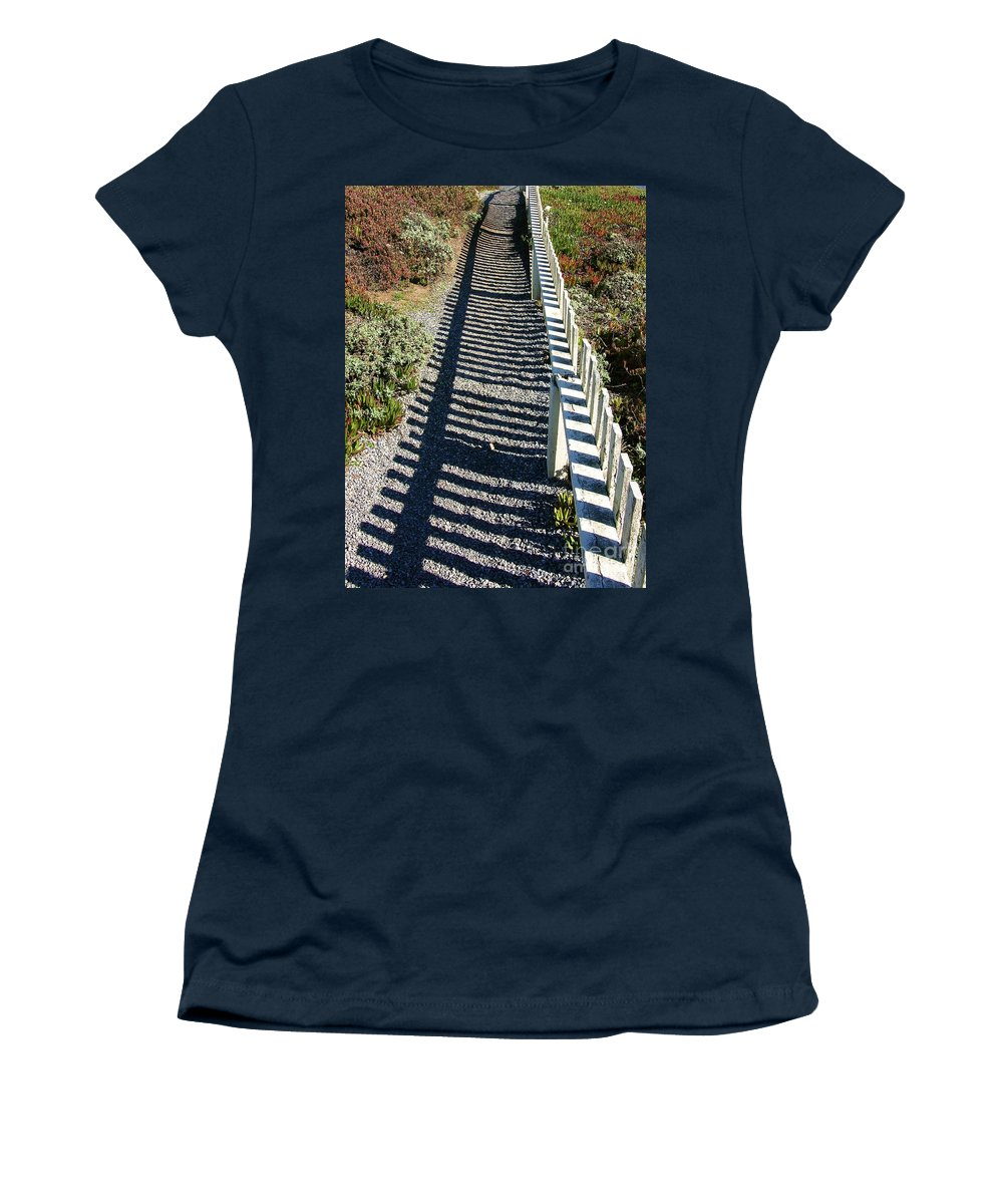 Half Moon Bay Women's T-Shirt featuring the photograph Beach Path by Carol Groenen
