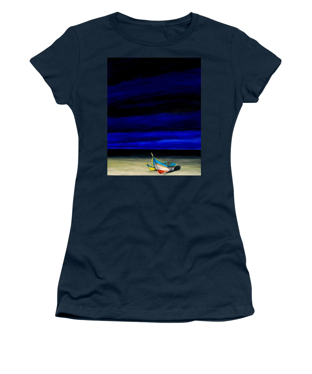 Landscape Painting Women's T-Shirt (Athletic Fit) featuring the painting Beached by Edith Peterson-Watson