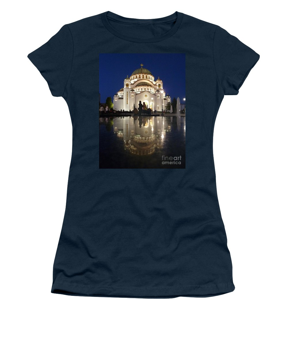 Danica Radma Women's T-Shirt featuring the photograph Belgrade Serbia Orthodox Cathedral Of Saint Sava by Danica Radman