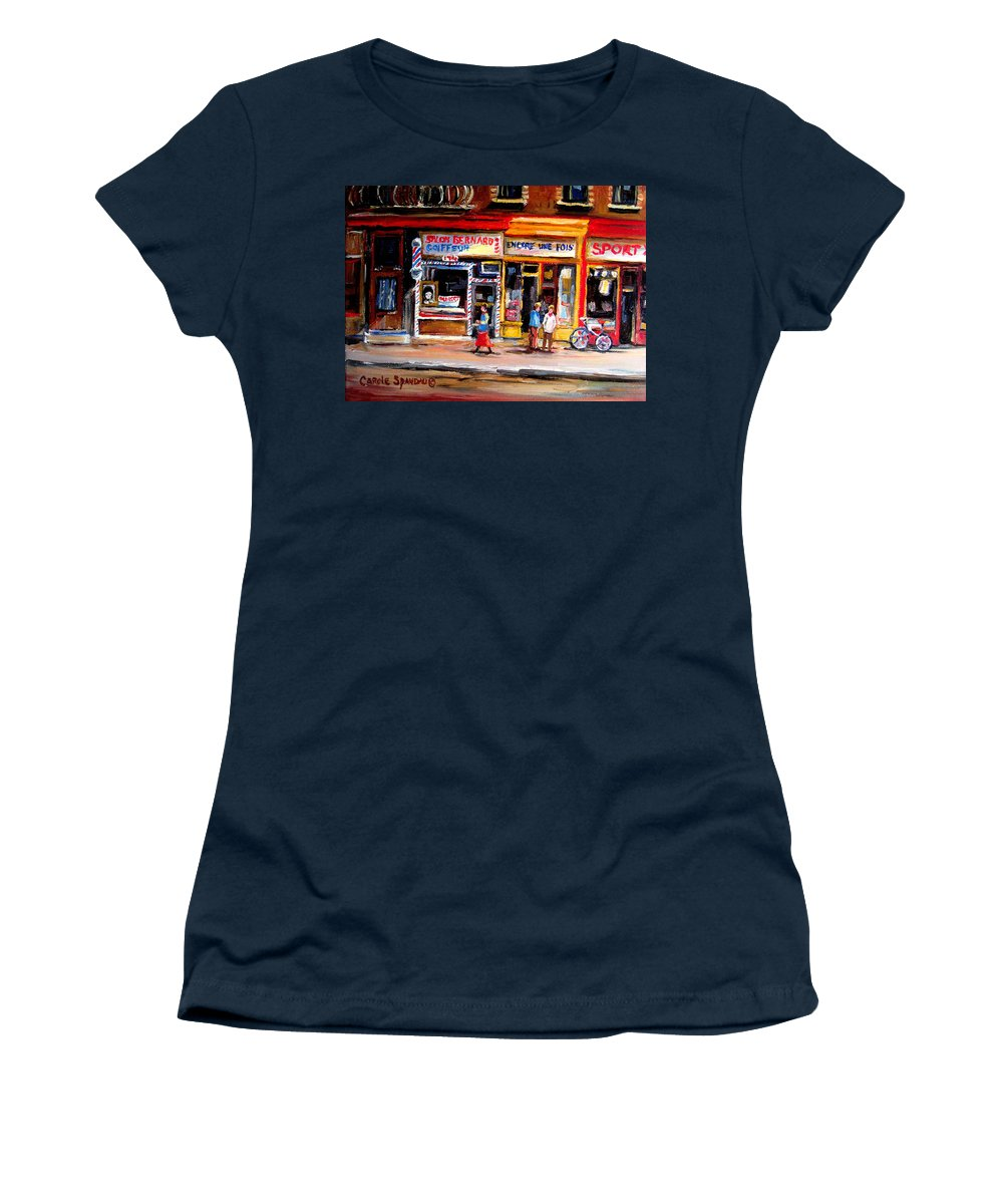 Bernard Barbershop Women's T-Shirt (Athletic Fit) featuring the painting Bernard Barbershop by Carole Spandau
