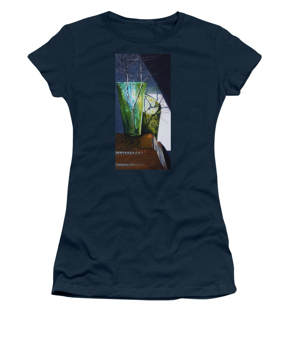 Vase Women's T-Shirt featuring the painting Birch Branches by Denny Bond