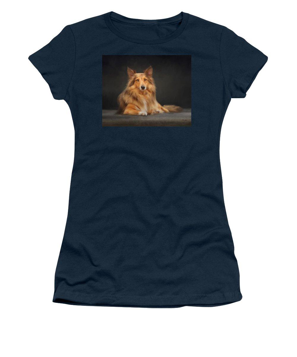 Dog Women's T-Shirt featuring the painting Bizou by Johanne Dauphinais
