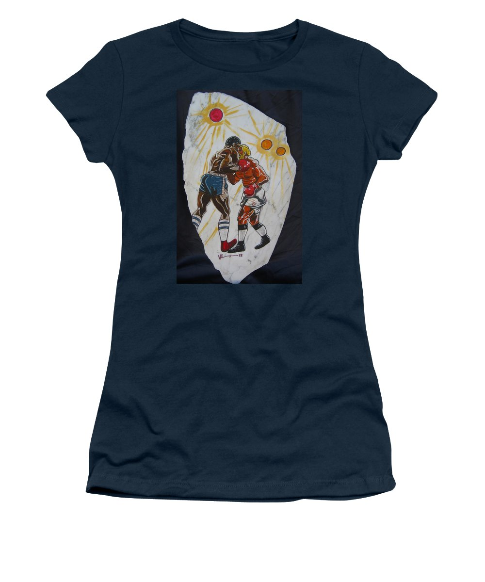 Boxing Women's T-Shirt (Athletic Fit) featuring the mixed media Black And White by V Boge