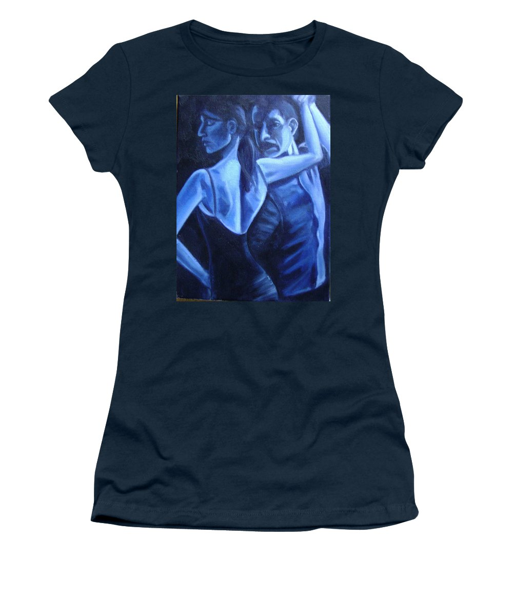 Women's T-Shirt (Athletic Fit) featuring the painting Bludance by Toni Berry