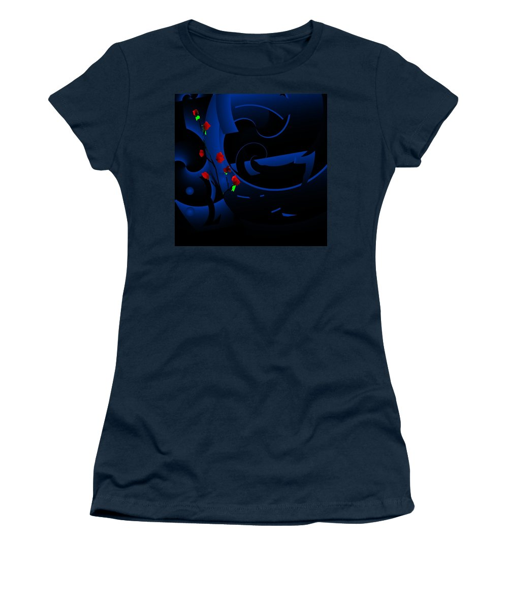 Abstract Women's T-Shirt (Athletic Fit) featuring the digital art Blue Abstract by David Lane