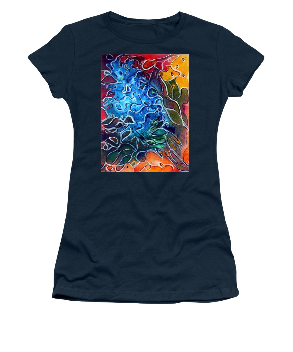 Abstract Women's T-Shirt featuring the painting Blue Blossom by Luiza Vizoli