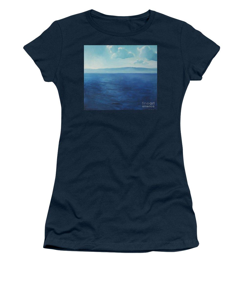 Lin Petershagen Women's T-Shirt featuring the painting Blue Blue Sky Over The Sea by Lin Petershagen