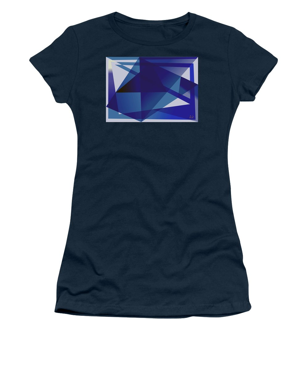 Blue Women's T-Shirt (Athletic Fit) featuring the digital art Blue In Blue by Helmut Rottler