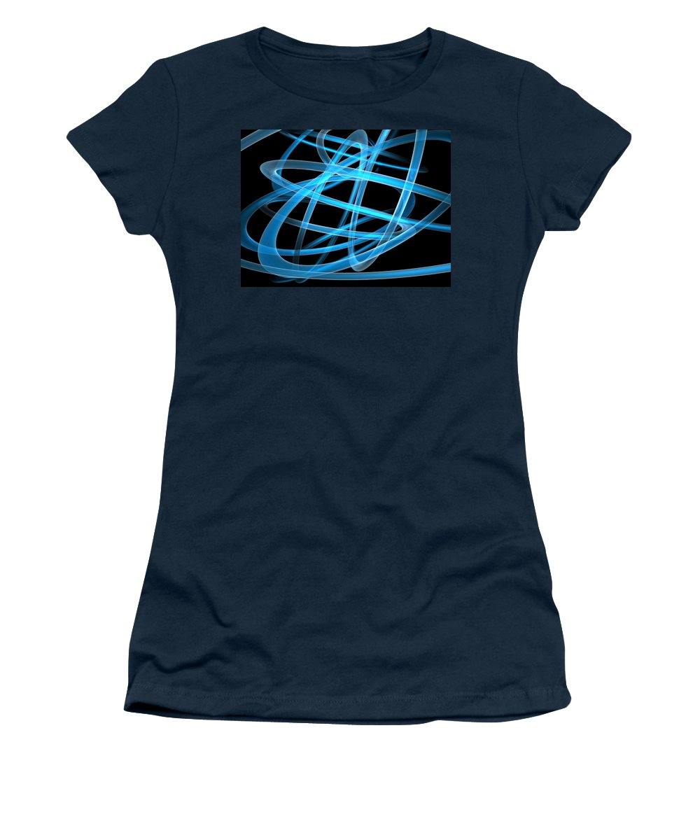 Scott Piers Women's T-Shirt (Athletic Fit) featuring the painting Blue Light by Scott Piers