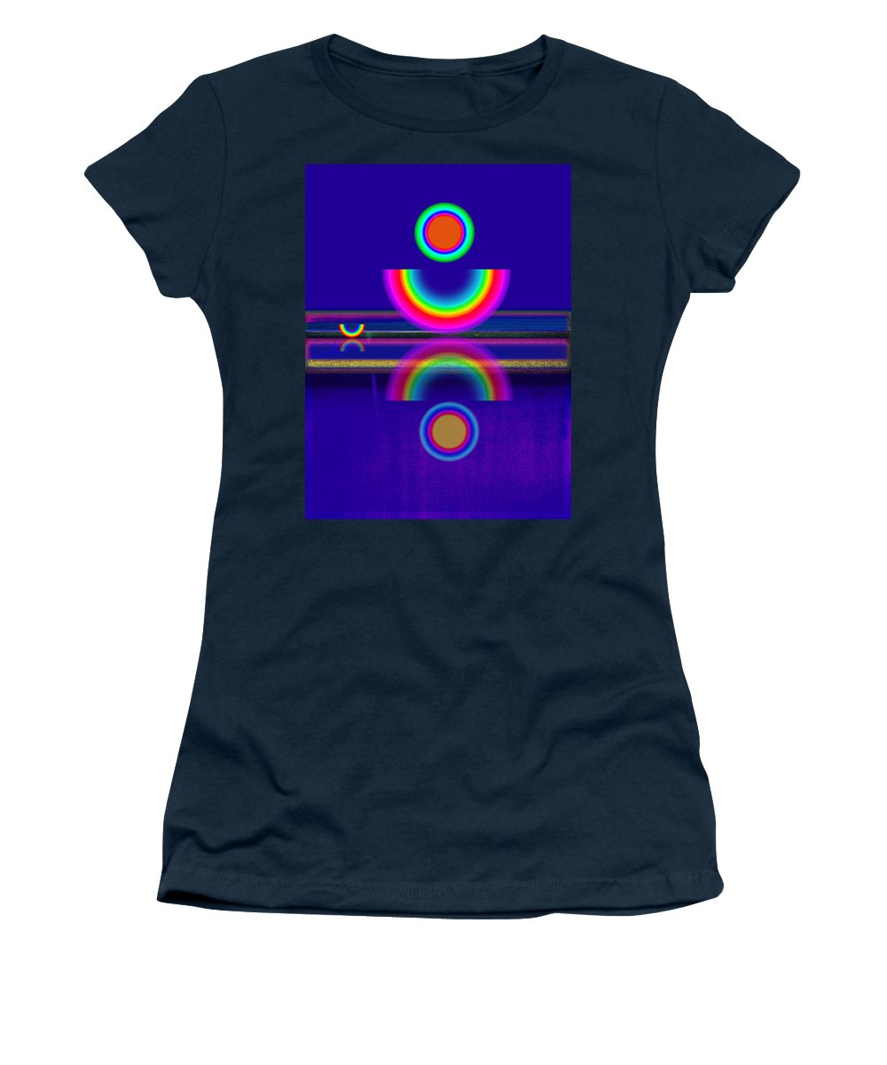 Reflections Women's T-Shirt featuring the painting Blue Moon Reflections by Charles Stuart