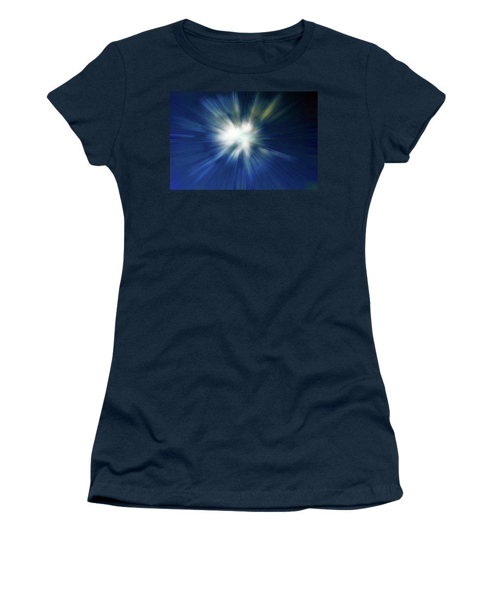 Digital Art Women's T-Shirt (Athletic Fit) featuring the digital art Blue Warp by David Stasiak