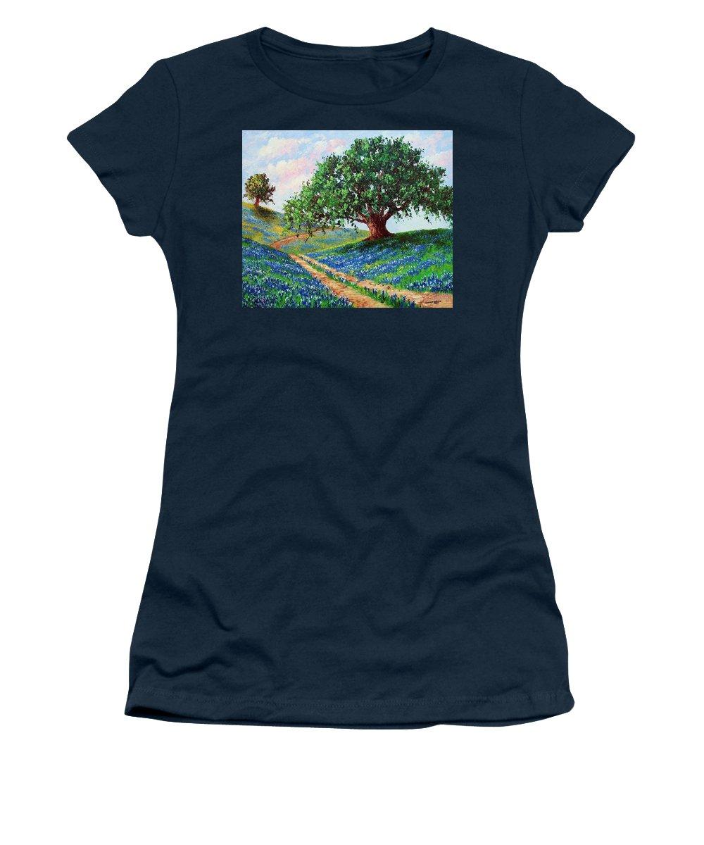 Bluebonnet Women's T-Shirt featuring the painting Bluebonnet Road by David G Paul