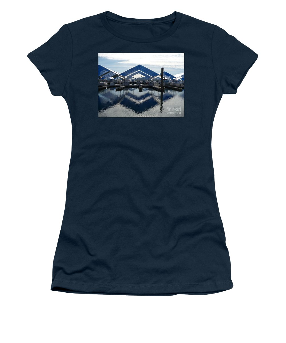 Boats Women's T-Shirt (Athletic Fit) featuring the photograph Boat Reflection On Lake Coeur D'alene by Carol Groenen