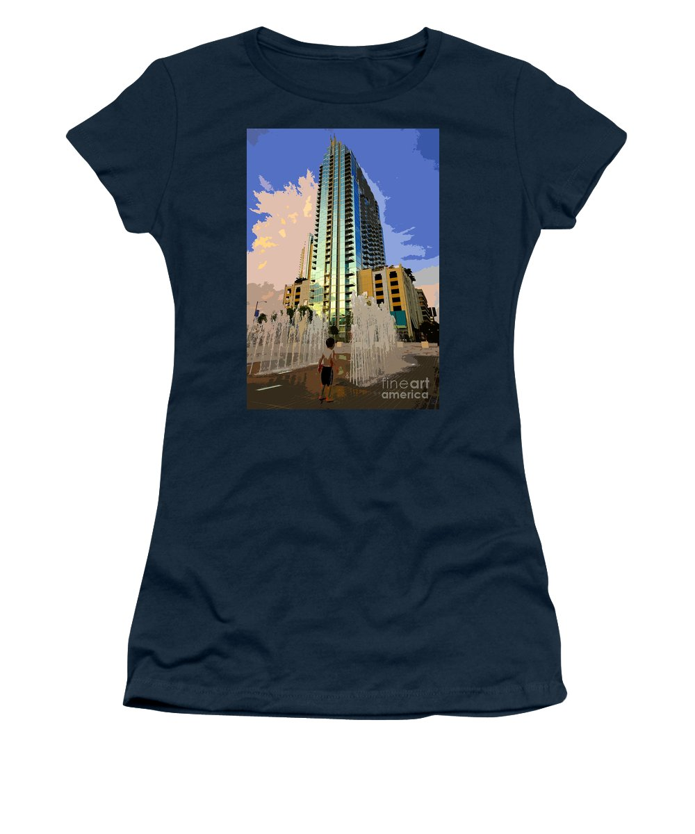 Boy Women's T-Shirt (Athletic Fit) featuring the painting Boy Growing Up by David Lee Thompson