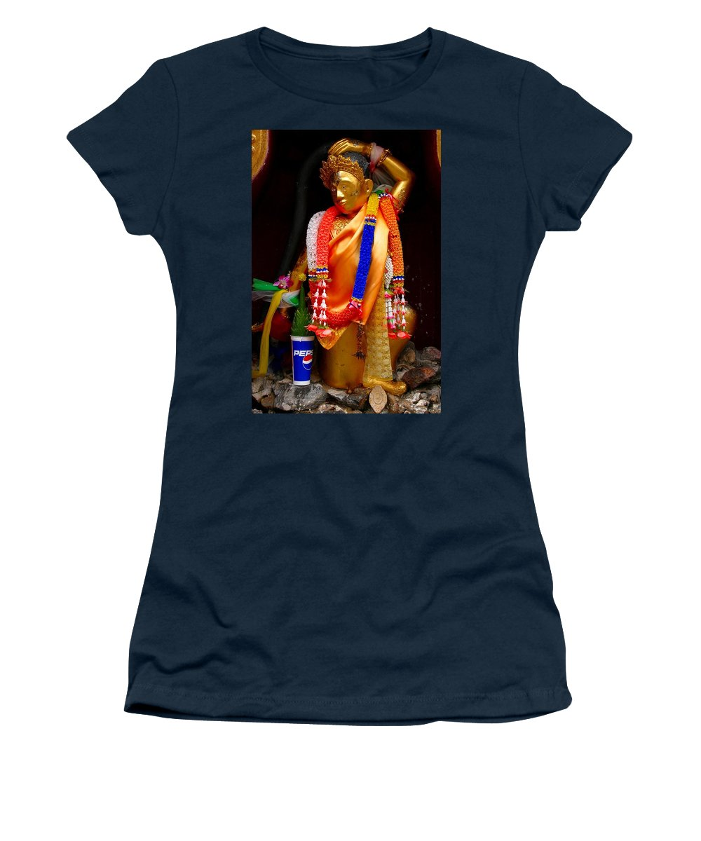 Buddism Women's T-Shirt (Athletic Fit) featuring the photograph Buddism And Pepsi Shrine by Minaz Jantz