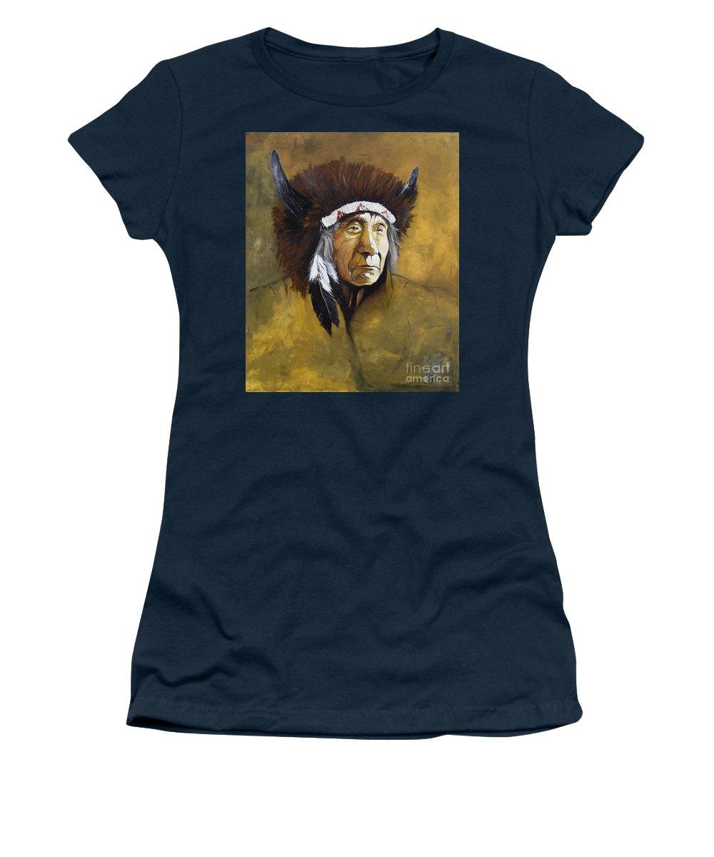 Shaman Women's T-Shirt featuring the painting Buffalo Shaman by J W Baker